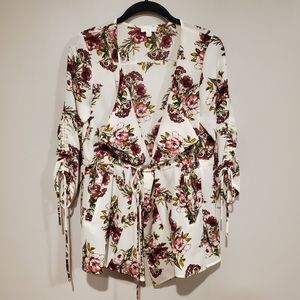 Charming Charlie floral tie front cape small
